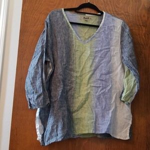 flax multi colored linen shirt With sleeves